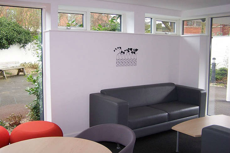 Communal area at Purbeck House Cambridge