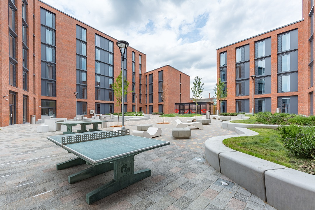 Courtyard at Lumis Student Living Leicester