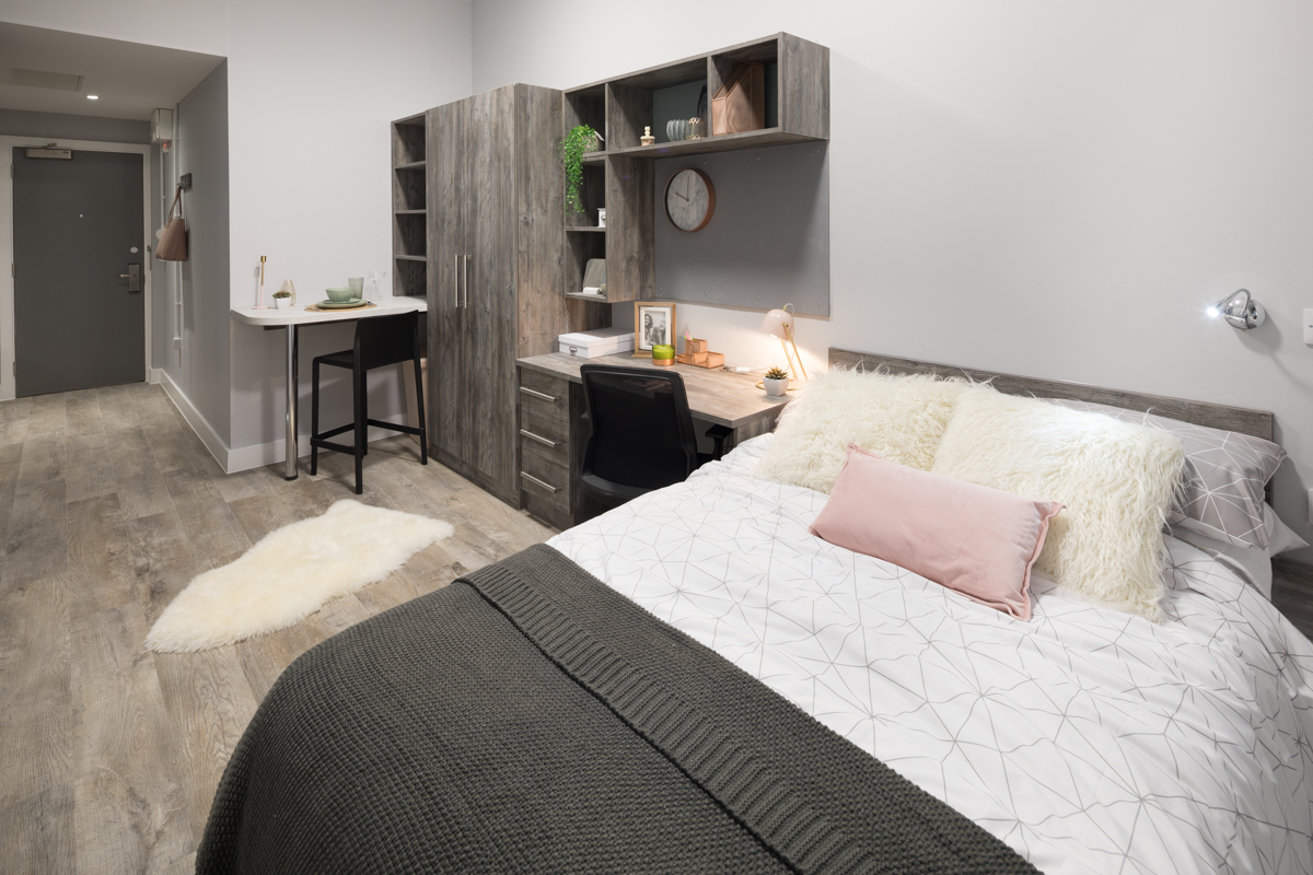 Photo of a bedroom at Crown Place student accommodation in Portsmouth
