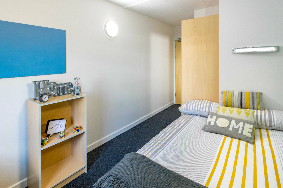 Photo of a bedroom at Leighton Hall student accommodation in Preston