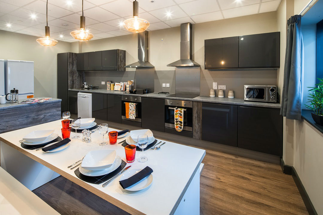 Cluster kitchen at Lumis Student Living Cardiff