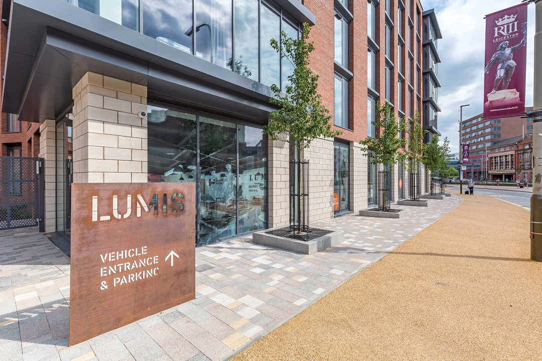 Exterior photo of the Lumis Student Living building in Leicester