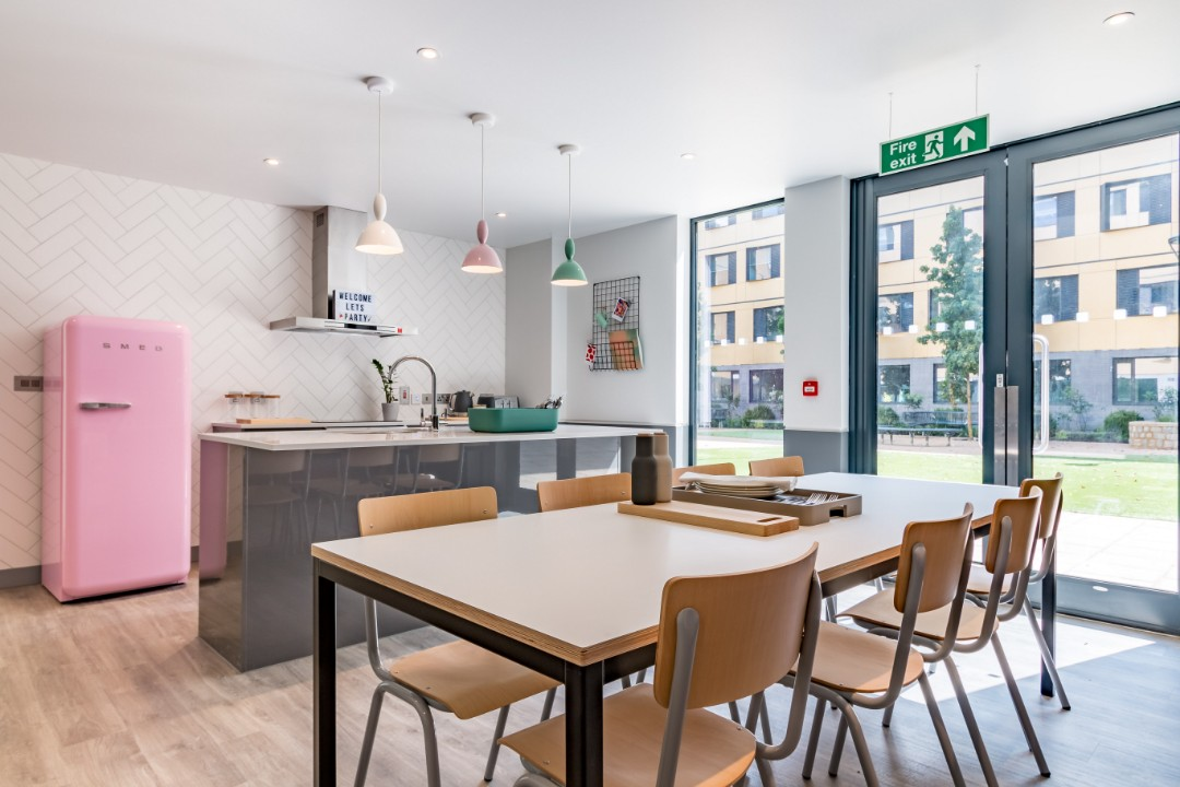A shared kitchen in Palamon Court, student accommodation in Canterbury
