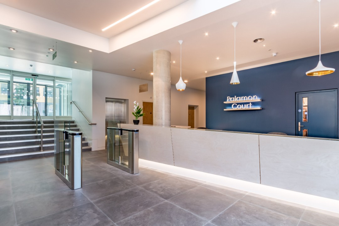 The reception in Palamon Court, student accommodation in Canterbury