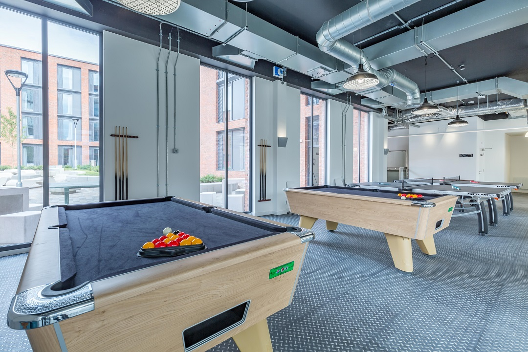 Pool room at Lumis Student Living Leicester