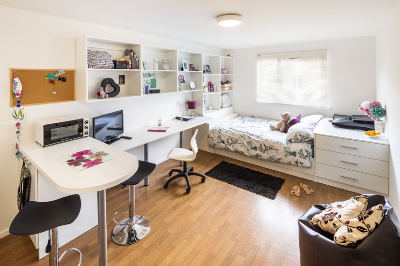 Photo of a bedroom at St Augstines House student accommodation in Plymouth