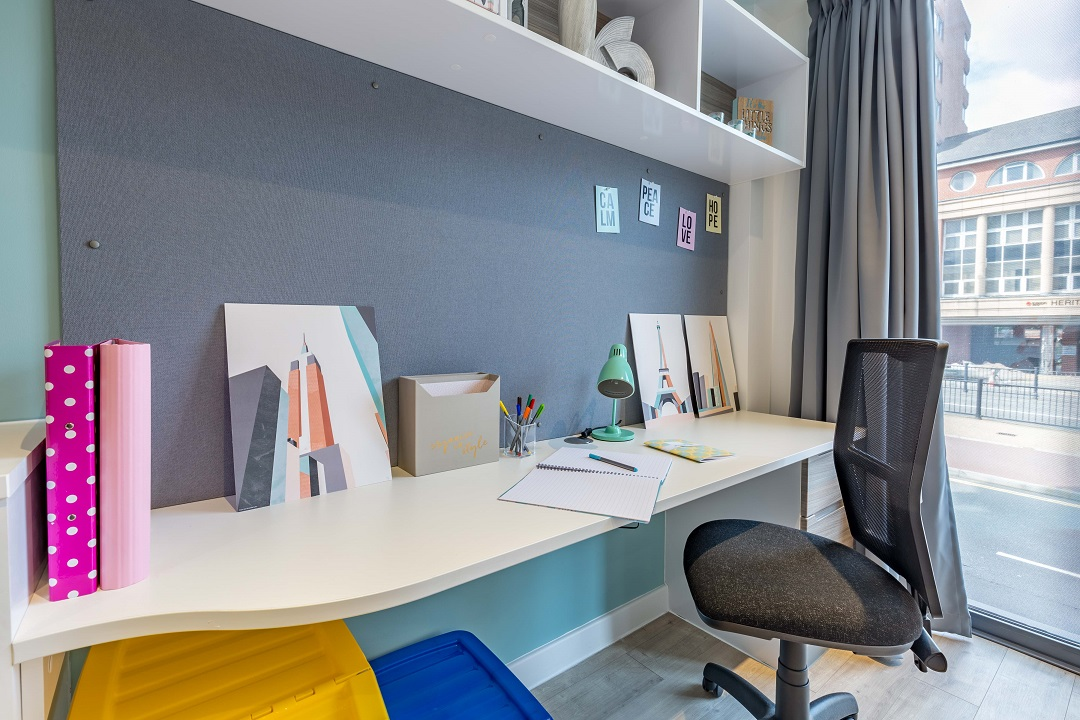 Studio study area at Lumis Student Living Leicester