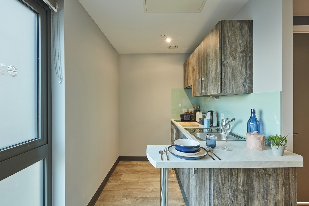 Large Studio Kitchen at Crown Place student accommodation in Norwich