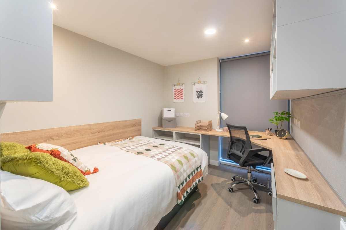 Bedroom at The Coal Yard student accommodation in York
