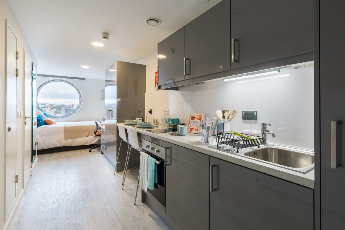 large standard studio at Livin student accommodation in Cardiff