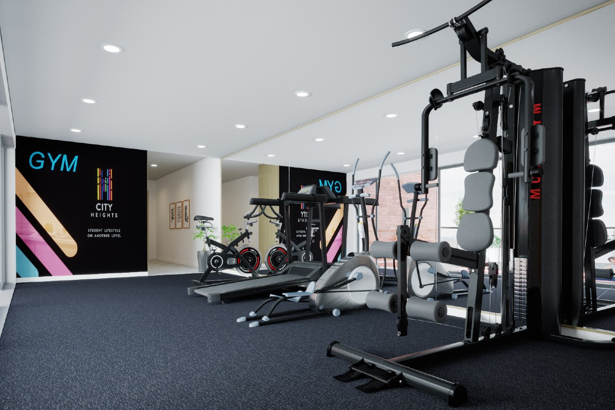Gym at City Heights student accommodation in Cardiff