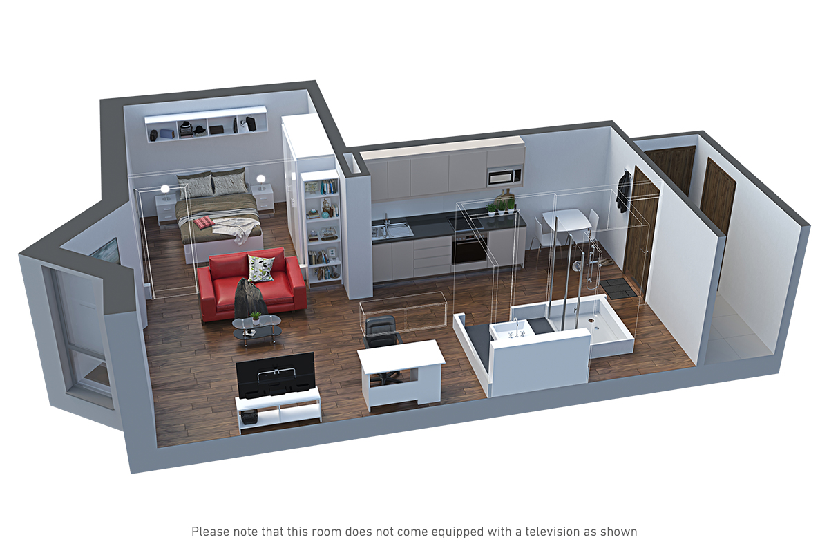 Room CGI at City Heights student accommodation in Cardiff