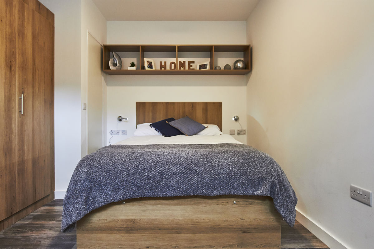 Bedroom at City Heights student accommodation in Cardiff