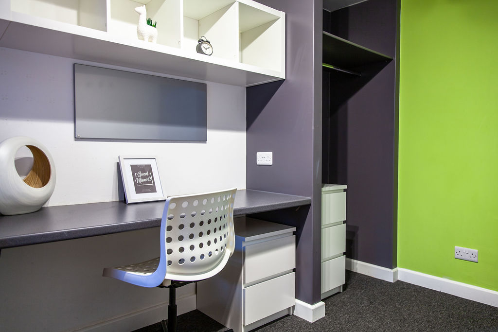 Bedroom at York House student accommodation in Leicester