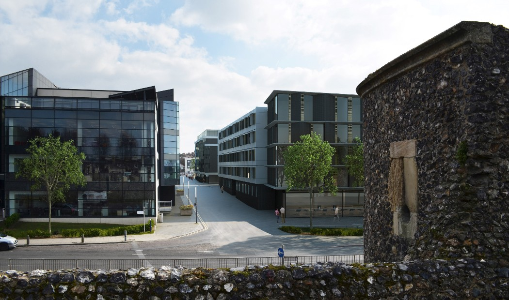 Exterior of Rhodaus Court, student accommodation in Canterbury